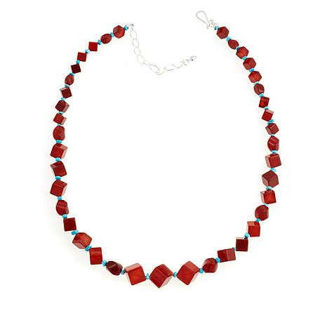 Jay King Red Carnelian and Turquoise Bead Necklace