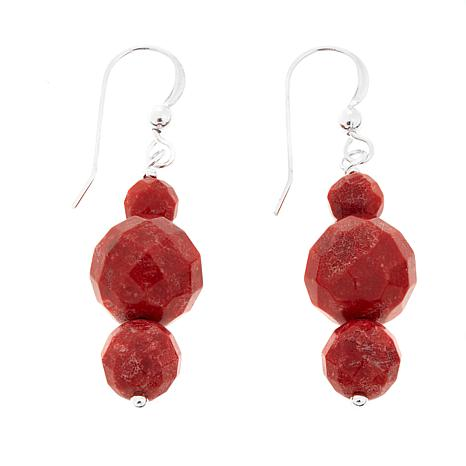Jay King Red Coral 3-Bead Drop Sterling Silver Earrings
