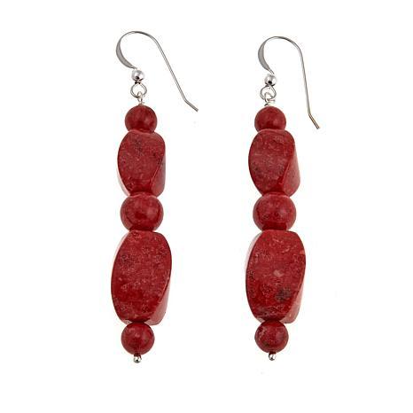 Jay King Red Coral Bead Drop Sterling Silver Earrings