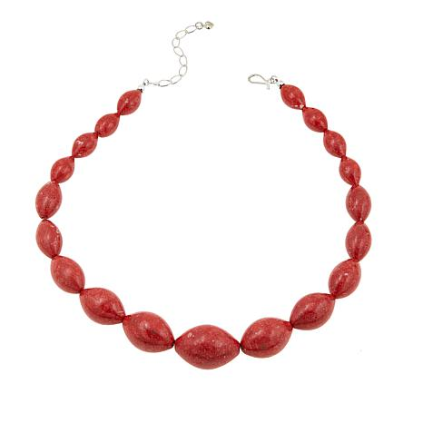 "Jay King Red Coral Bead Sterling Silver Graduated 19"" Necklace"