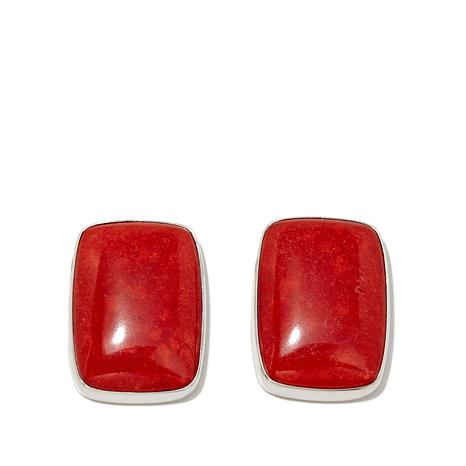 Jay King Red Coral Rectangular Stud Earrings