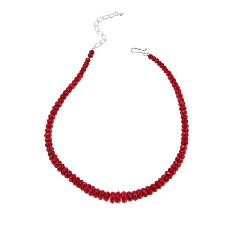 "Jay King Red Sea Bamboo Coral Bead 18"" Sterling Silver Necklace"