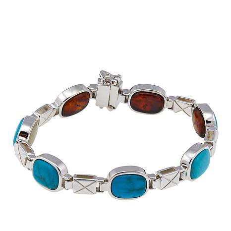 Jay King Reversible Amber and Turquoise Sterling Silver Bracelet - S/M