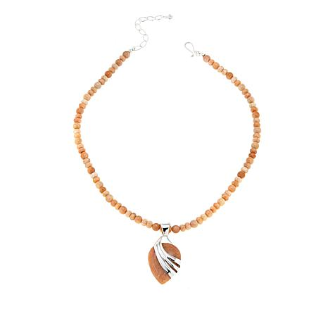 Jay King Reversible Peach Stone Sterling Silver Pendant with Necklace