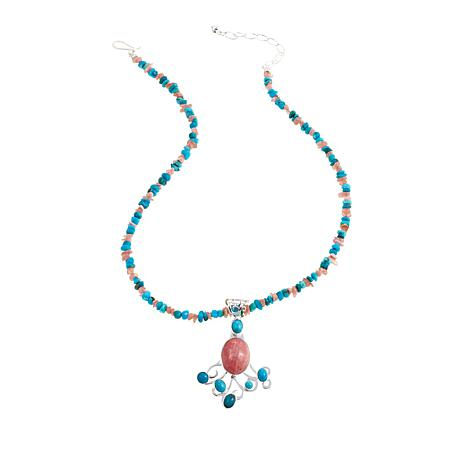 Jay King Rhodochrosite and Turquoise Pendant-Necklace