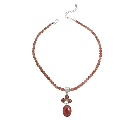 Jay King Rhodochrosite Oval and Round Pendant with Necklace