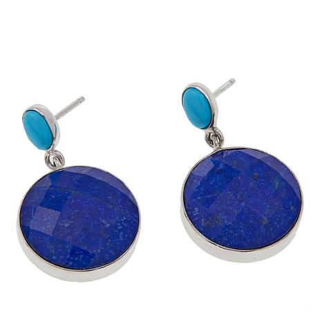 Jay King Round Lapis and Turquoise Sterling Silver Earrings