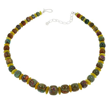 Jay King Ruby in Fuchsite and Korean Serpentine Beaded Necklace