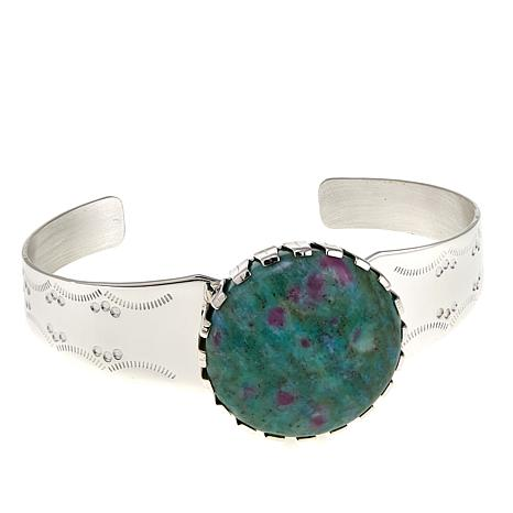 Jay King Ruby in Fuchsite Sterling Silver Cuff Bracelet