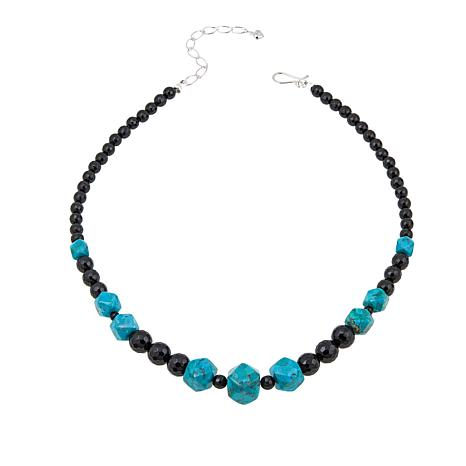 """Jay King Seven Peaks Turquoise and Black Obsidian Bead 18"""" Necklace"""