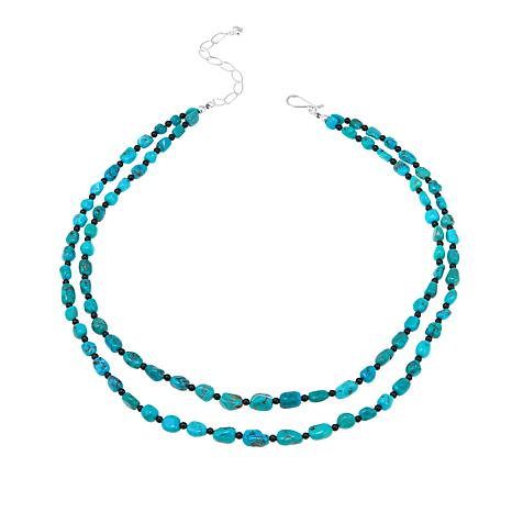 """Jay King Seven Peaks Turquoise and Obsidian Double-Strand 18"""" Necklace"""