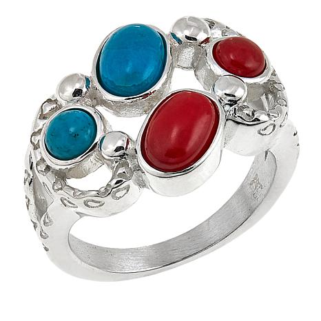 Jay King Seven Peaks Turquoise and Red Sea Bamboo Coral Ring
