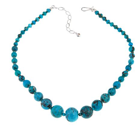 "Jay King Seven Peaks Turquoise Bead Sterling Silver 18"" Necklace"