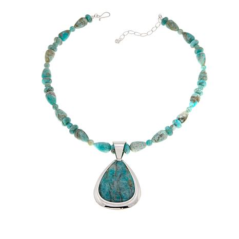 "Jay King Smoky Graphical Amazonite Pendant with 18"" Necklace"