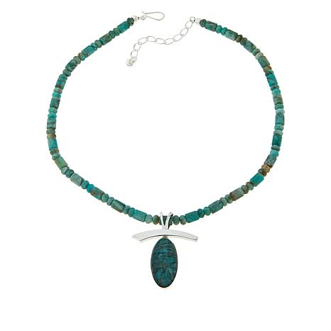 Jay King Smoky Graphical Amazonite Pendant with Beaded Necklace