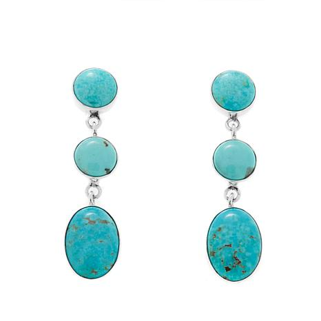 Jay King Sonoran Blue Turquoise 3-Stone Earrings