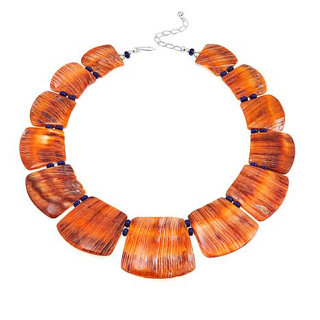 """Jay King Spiney Oyster and Lapis Freeform Bib 17"""" Necklace"""