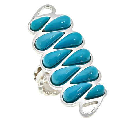 Jay King Sterling Silver 10-Stone Campitos Turquoise Ring