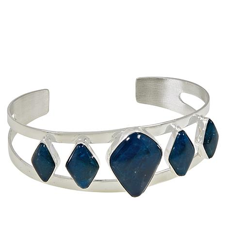 Jay King Sterling Silver 5-Stone Blue Apatite Cuff Bracelet