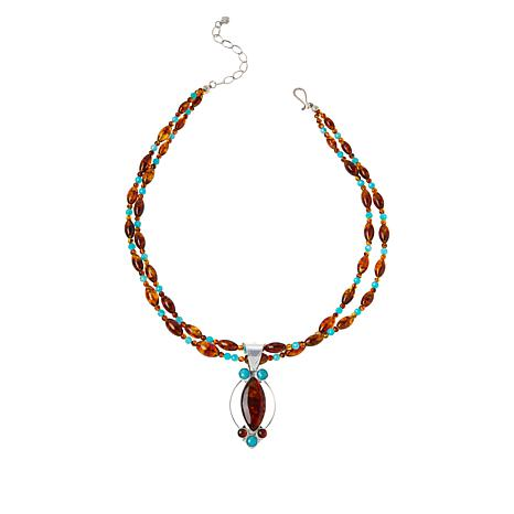 Jay King Sterling Silver Amber and Amazonite Pendant with Necklace