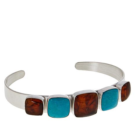 Jay King Sterling Silver Amber and Azure Peaks Turquoise Cuff