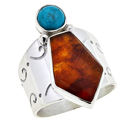 Jay King Sterling Silver Amber and Azure Peaks Turquoise Ring