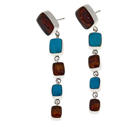 Jay King Sterling Silver Amber and Azure Peaks Turquoise Drop Earrings