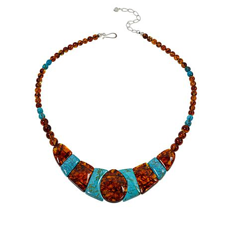 Jay King Sterling Silver Amber and Azure Peaks Turquoise Bib Necklace