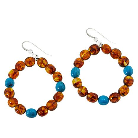 Jay King Sterling Silver Amber and Turquoise Hoop Drop Earrings