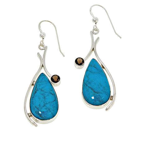 Jay King Sterling Silver Andean Turquoise  and Smoky Quartz Earrings