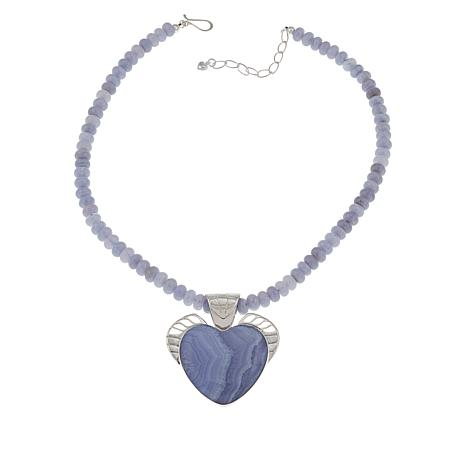 Jay King Sterling Silver Blue Lace Agate Heart Pendant with Necklace