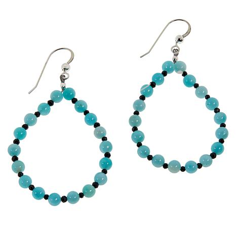 Jay King Sterling Silver Blue Quartzite and Black Spinel Drop Earrings