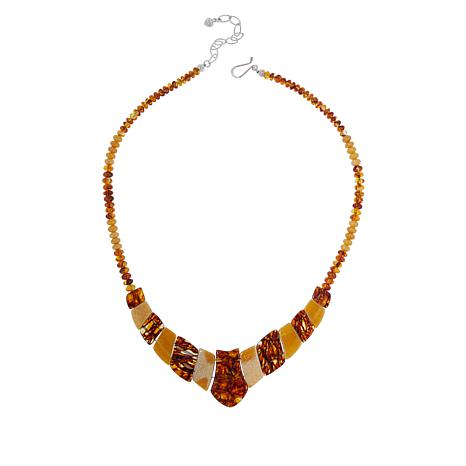 Jay King Sterling Silver Butterscotch and Brown Amber Necklace