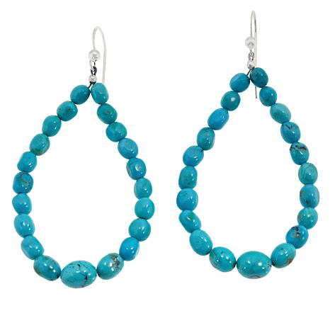 Jay King Sterling Silver Cloudy Mountain Turquoise Bead Loop Earrings