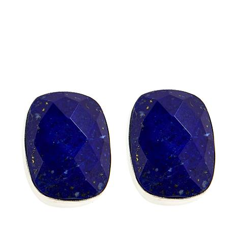 Jay King Sterling Silver Cushion-Cut Faceted Lapis Stud Earrings
