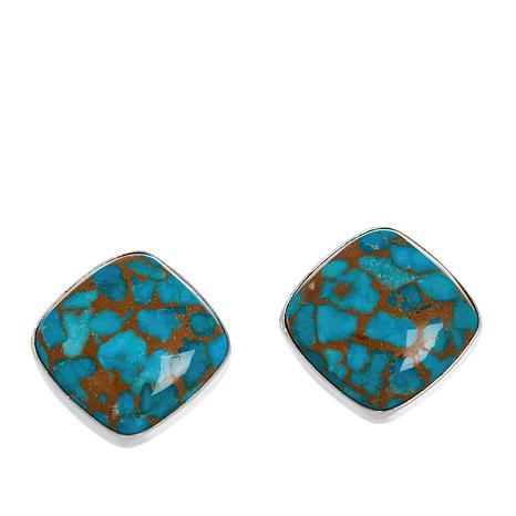 Jay King Sterling Silver Cushion-Cut Gemstone Stud Earrings