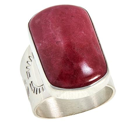 Jay King Sterling Silver Dark Pink Thulite Ring