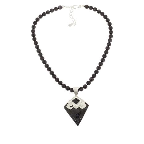 Jay King Sterling Silver Gabro Pendant with Beaded Necklace