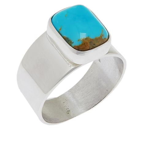 Jay King Sterling Silver Gold-Color Matrix Turquoise Solitaire Ring