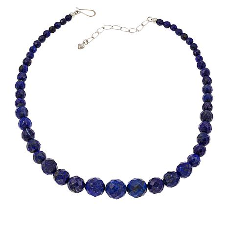 Jay King Sterling Silver Graduated Lapis Bead Necklace