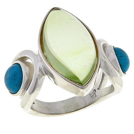 Jay King Sterling Silver Green Amber and Turquoise Ring