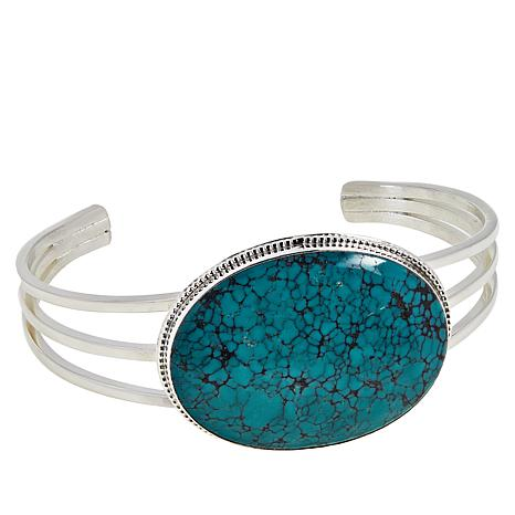 Jay King Sterling Silver Hubei Spider Web Turquoise Cuff Bracelet