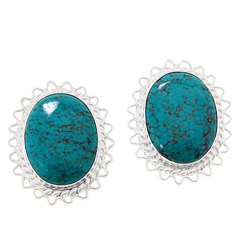 Jay King Sterling Silver Hubei Turquoise Stud Earrings