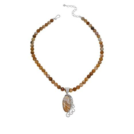 Jay King Sterling Silver Java Lace Agate Pendant with Necklace