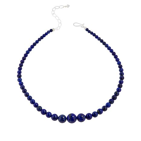 Jay King Sterling Silver Lapis Bead Graduated Necklace