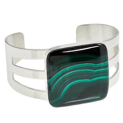 Jay King Sterling Silver Malachite Square Cuff Bracelet