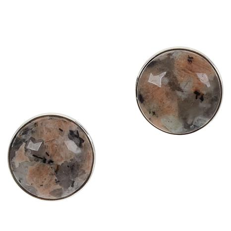 Jay King Sterling Silver Multi-Color Lantana Stone Button Earrings
