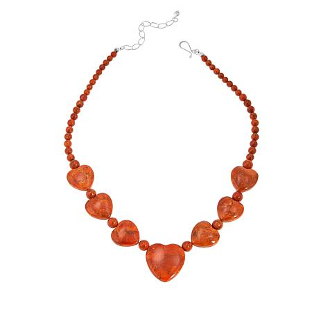 Jay King Sterling Silver Orange Coral Heart Necklace