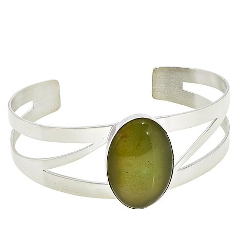 Jay King Sterling Silver Oval Moss Amber Cuff