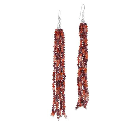 Jay King Sterling Silver Picante Agate and Garnet Tassel Earrings